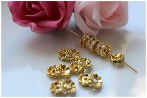 25-50-Stk-Strassrondelle-gold-10mm-Zwischenperlen-Spacer-Perlen-Basteln