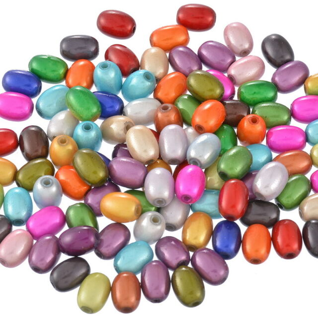 "100 Mixed Miracle Acrylic Oval Spacer Beads 11x8mm(3/8""x3/8"")"