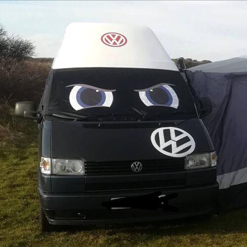 VW Transporter T4 cubierta de la pantalla de ventana Cortina Wrap Escarcha Negro Azul Ojos ciego
