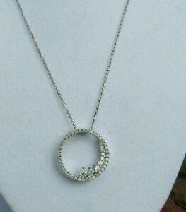 """14k oro blanco sobre 2.50Ct Redondo Diamante Círculo Colgante Collar de Cadena de 18"""""""