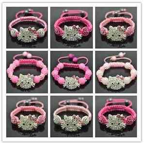 PINK-PINK-PINK-UK-Little-Girls-Shamballa-Hello-Kitty-Style-Bracelets-UK-SELLER
