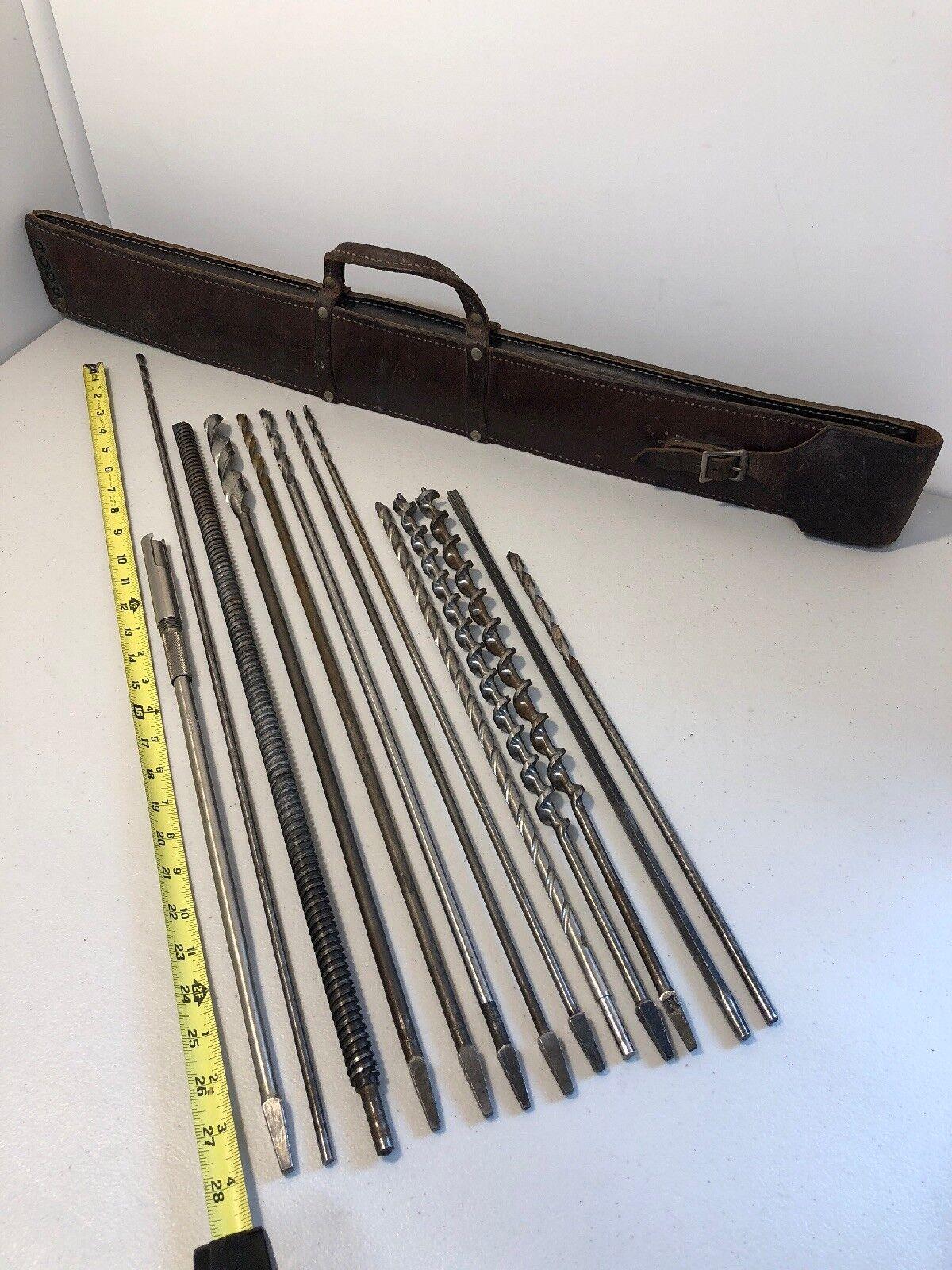 "Stanley No.180-18 IN. Bit Brace + 12 Pc 15-28"" Bit Assort. & Leather Case"