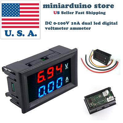 Red LED Amp Dual Digital DSN-VC288 1pcs DC 0-100V 10A  Voltmeter Ammeter Blue