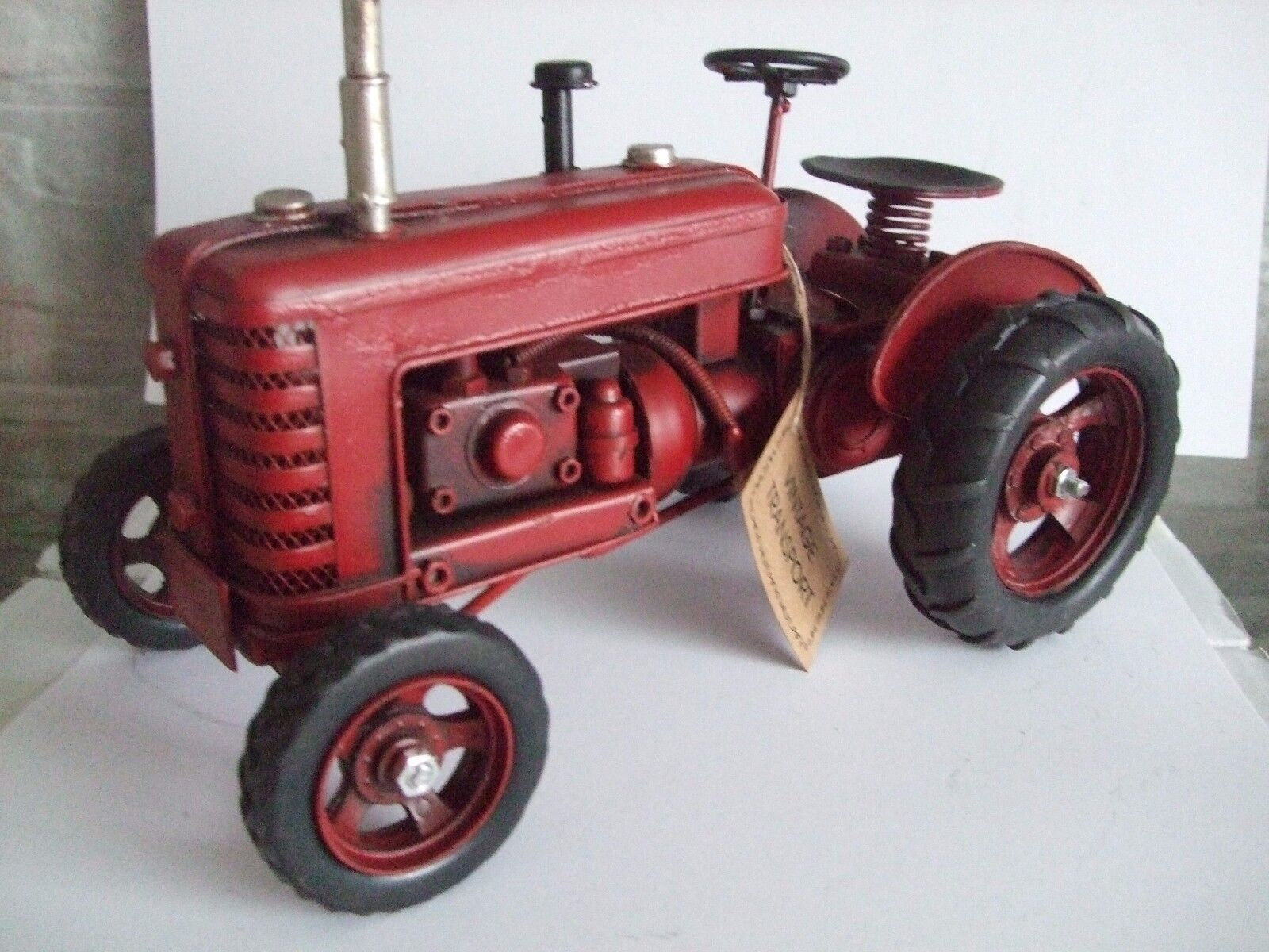 Tin Plate Model of a Classic Transport Red Tractor  Ornament  Gift  Red  Wheels