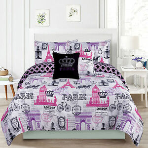 Image Is Loading Bedding S Comforter Bed Set Paris Eiffel Tower