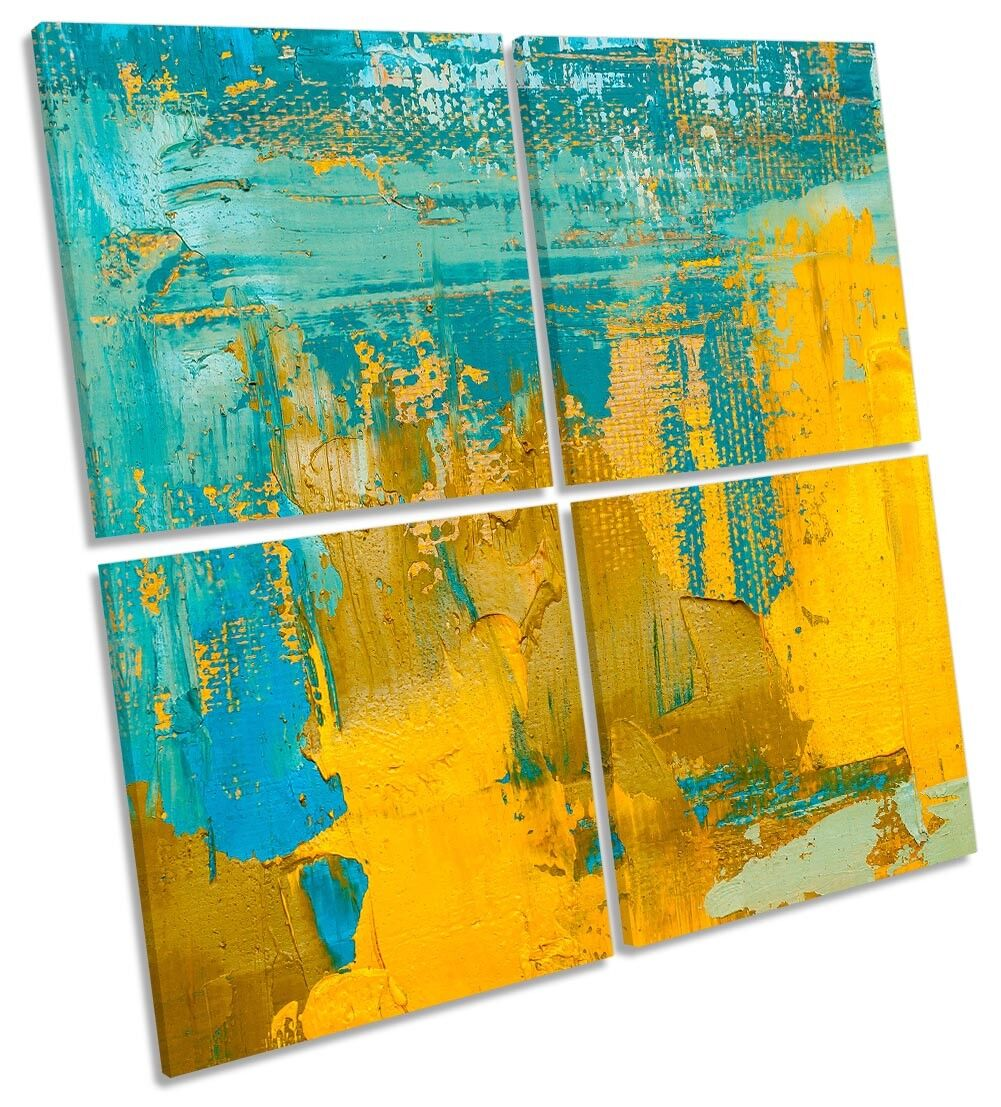 Turquoise Gelb Abstract Grunge Framed MULTI CANVAS CANVAS CANVAS PRINT Art Square b633e6