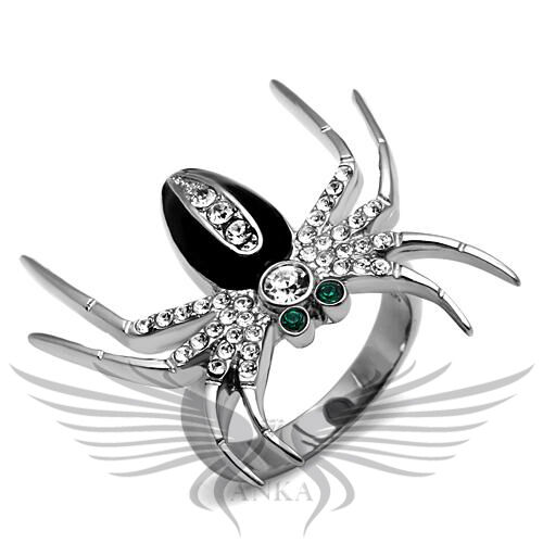 Spider Top Grade Crystal Accented Black Epoxy Cocktail Ring 5 6 7 8 9 10 TK662
