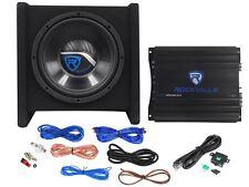 "Rockville RV10.1A 500w 10"" Loaded Car Subwoofer Enclosure+Mono Amplifier+Amp Kit"