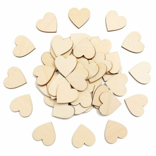 Hot 50Pcs Wooden Love Hearts Shapes Embellishments Heart Plain Craft JAUK