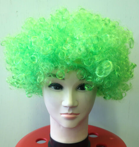CURLY AFRO FANCY DRESS WIGS FUNKY DISCO CLOWNS COSTUME HAIR FLOURECENT CHOOSE*