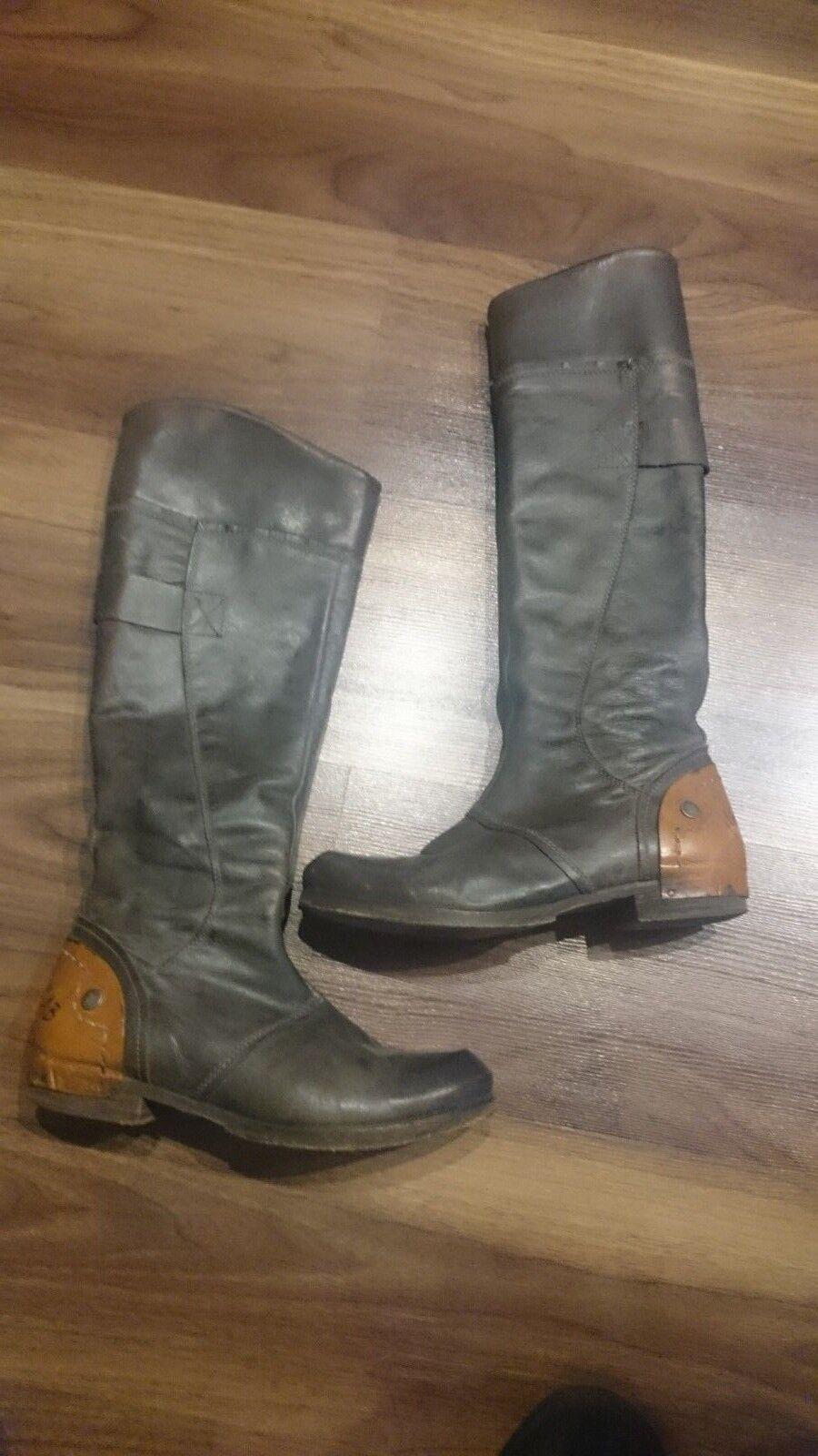 cab Gelb Stiefel Vintage 40 braun Grau Schaft Hoher