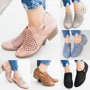 Women-039-s-Casual-Hollow-Out-Shoes-Ankle-Low-Mid-Block-Chunky-Boots-Zipper-Summer