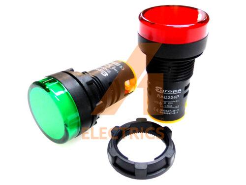 1 verde y 1 Rojo 22mm LED lámparas de señal de luz piloto indicador de panel de control 230V