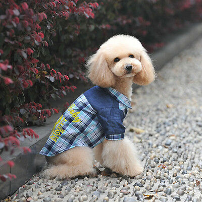 Summer Pet Puppy Small Dog Pet Clothes Vest T Shirt Apparel Costumes Plaid shirt