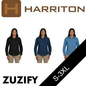 5014d5a5fec Image is loading Harriton-Ladies-Long-Sleeve-Denim-Shirt-M550W