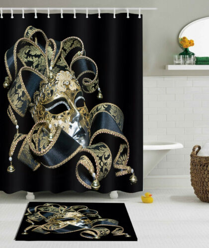 "60//79/""Carnival Gothic Clown Mask Waterproof Fabric Shower Curtain Set Bath Decor"