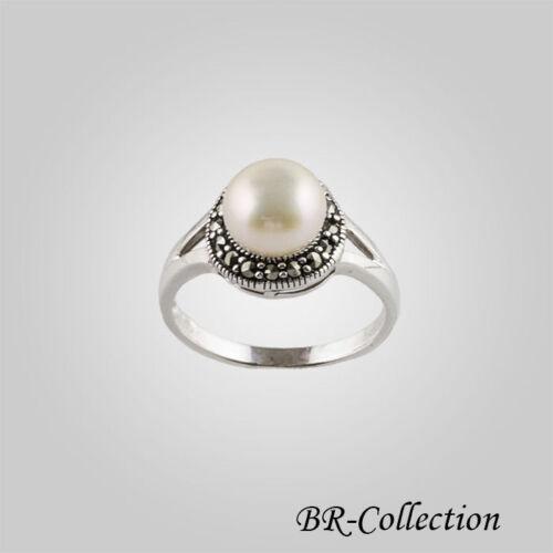 Sterling Silver Ring avec un blanc d/'eau douce Pearl et Swiss Marcassite