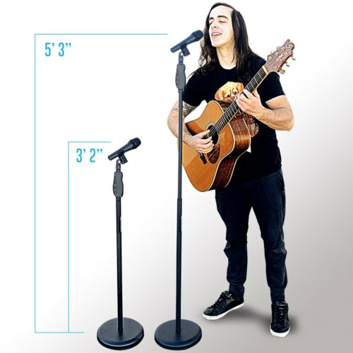 AxcessAbles MS-201R Microphone Stand w Soft Grip Squeeze Quick Height Adjustment