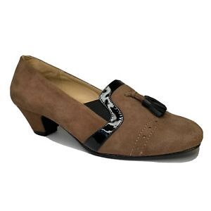 Kushins-Suede-Brown-Leather-Almond-Toe-Heel-Size-7-Court-Shoe-Arch-Support
