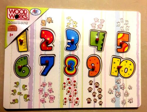 NUMBER /& NAME CHILDREN EASY TO LEARN AGE 3 EDUCATIONAL PUZZLE TOY WOOD WORKS