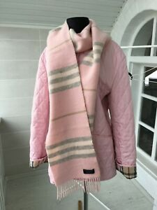 Women-039-s-Burberry-London-100-Lambswool-Rare-Striped-Pink-Scarf-235x20-cms