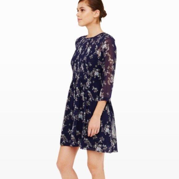 NWT - CLUB MONACO - Coriss Floral Silk Dress - Größe 0 (Maritime Navy)