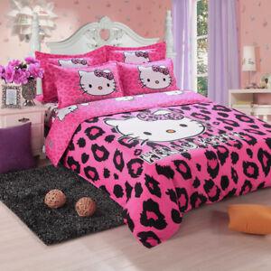 3d hello kitty cartoon pink \u0026 black leopard cotton duvet cover bedimage is loading 3d hello kitty cartoon pink amp black leopard