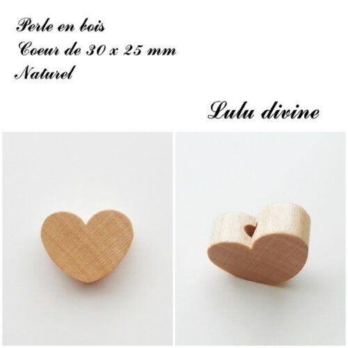 Perle en bois de 30 x 25 mm Naturel Perle plate Coeur