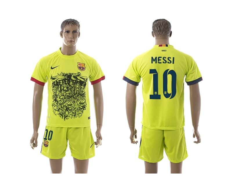 Spanish League Barcelona Messi 10Gluorescent Green Shirts