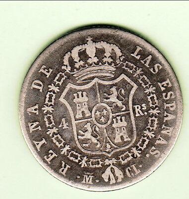Espagne Isabel Ii 4 R / 1 Peseta 1849