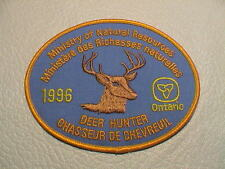 1996 ONTARIO CANADA MINISTRY NATURAL RESOURCES SUCCESSFUL DEER HUNTER GUN PATCH