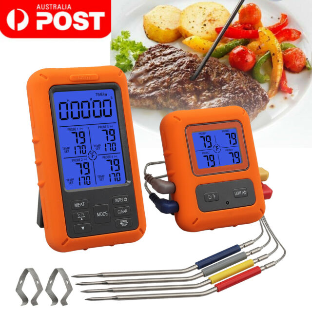 Digital Meat Thermometer Wireless W/4 Probes For Food Cooking BBQ Grill Oven AU