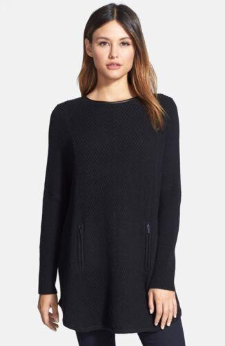 448 Collection Black New S Cashmere Nordstrom Trim Sweater Leather Størrelse zHvqw5E