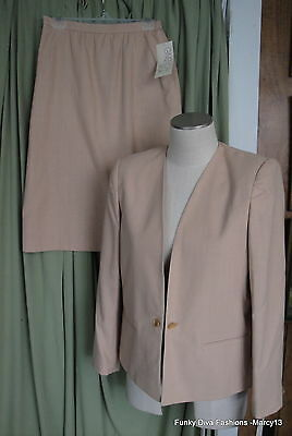 NWT Lovely Classic Gold Two Piece Givenchy Sport Fully Lined Skirt Suit Size 12