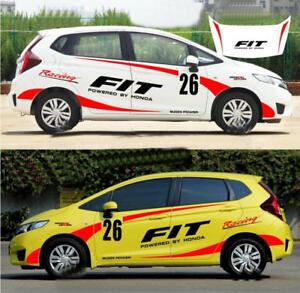 Details About Graphics Racing Mugen Car Sticker Vinyl Bonnet Stripe Decal For Honda Fit