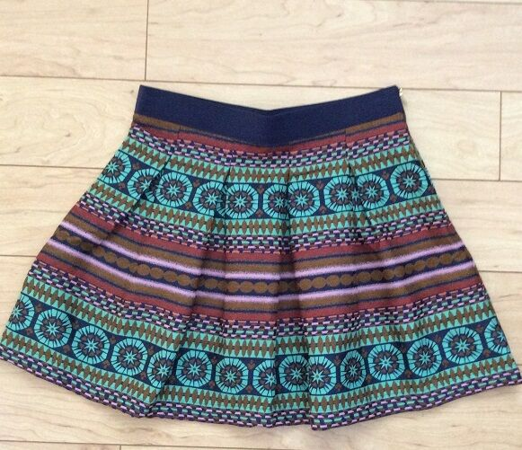 Swingy Iremel Brocade Skirt By Morgan Carper Sz 8 bluee MOT NW ANTHROPOLOGIE Tag