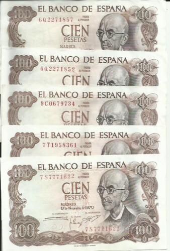 3RW 23 ABRIL XF CONDITION SPAIN LOT 5 x 100 PTAS 1970
