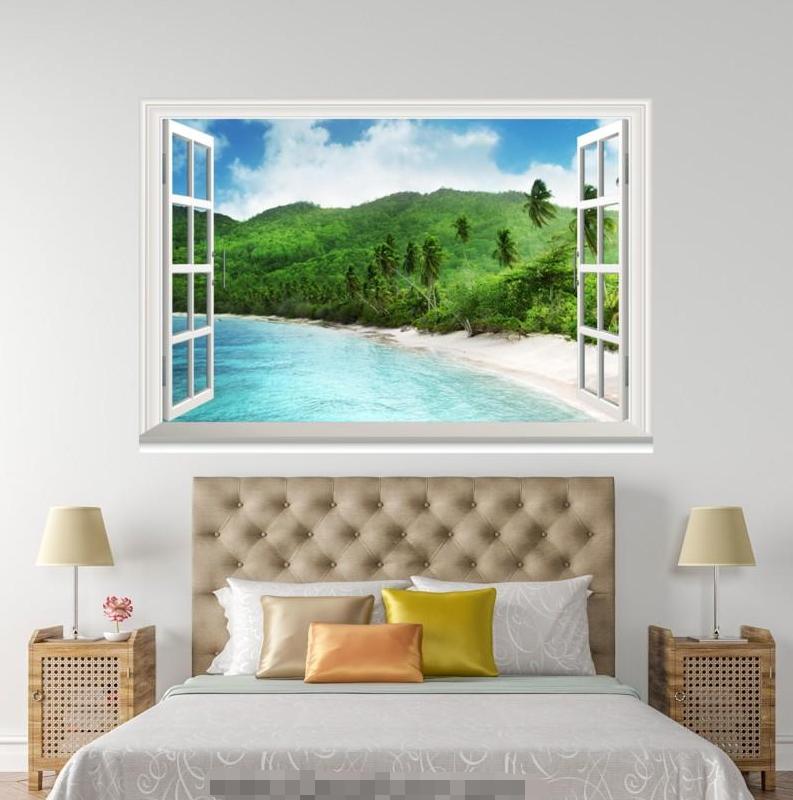 3D Grün Forest Lake 0138 Open Windows WallPaper Murals Wall Print AJ Carly