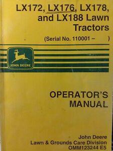 john john deere lx172 lx176 lx178 lx188 lawn mower tractor owners  manual on john deere maintenance schedule