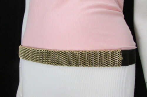 Dress Women Black Elastic Fashion Belt Gold Mesh Metal Chains Hip High Waist S M