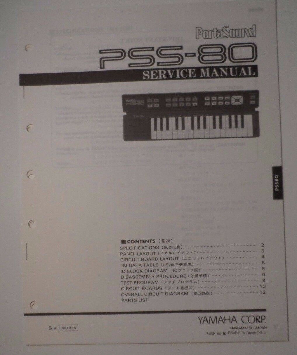 vintage yamaha portasound pss 80 electronic keyboard looks ebay rh ebay com Yamaha XS1100 Wiring-Diagram Yamaha ATV Wiring Diagram