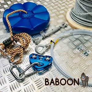 Hágalo usted mismo kit Completo Cremallera De Jardín Cable De Alambre 65 MTR - 8mm diámetro  Zip línea Kit de cable de alambre