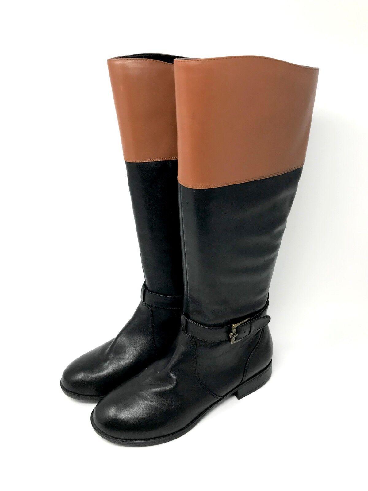 Isaac Mizrahi Live  de dos tonos tonos tonos de cuero botas de montar, negro y bronceado, tamaño 6W, Nuevo En Caja  precio al por mayor