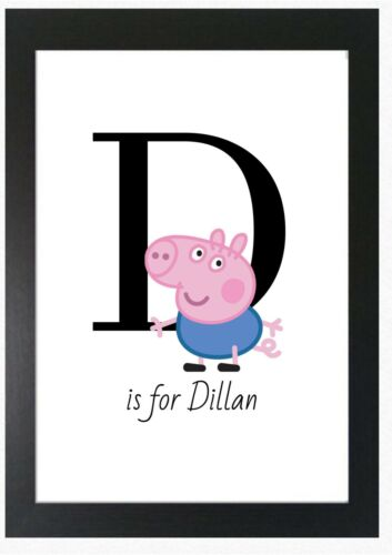 George Pig Initial Letter Name Character Print Nursery Wall Art Novelty Gift
