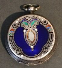"Silver NIELLO ENAMEL pocket watch case. Very Rare ANTIQUE ""Amazing Detail"""