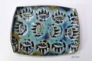 Art-Deco-Modernist-Ceramic-Decorative-Dish-Vase-signed-Cynthia