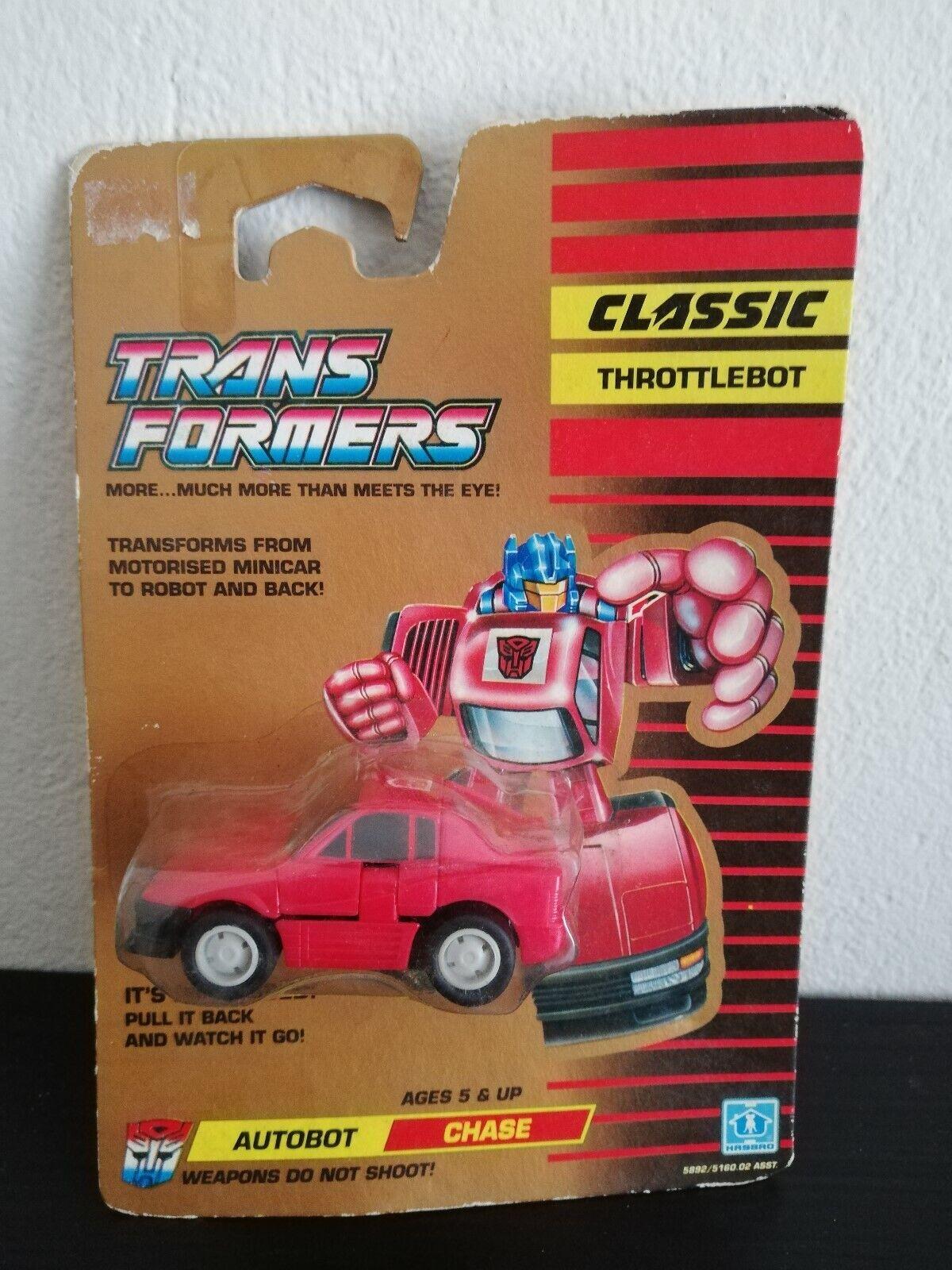 Vintage Transformers G1 Clásico Throjotlebot Autobot Chase difícil encontrar 1990 menta en tarjeta