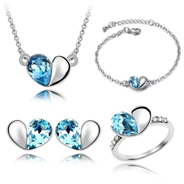 Love Crystal Hearts Style Jewelry Necklace + Bracelets + Earrings + Rings Set