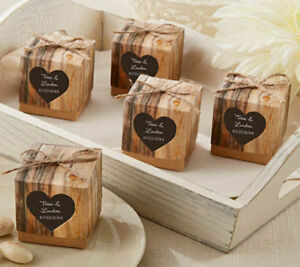 25 x Shabby Chic Wedding Favour Boxes Vintage Hearts Rustic Jute ...