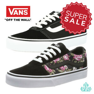 VANS-Old-Skool-Shoes-Suede-Leather-Canvas-Black-White-Floral-Roses-Unisex-LowTop
